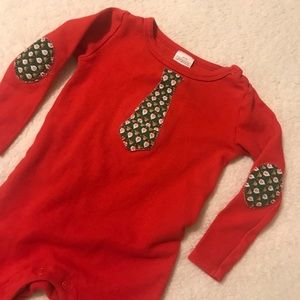 Pajamas - Christmas Santa Reindeer tie red sleeper footie PJ